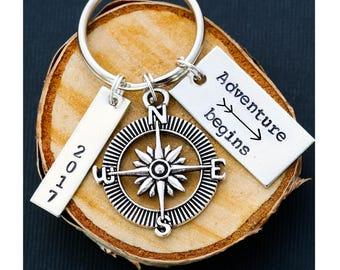 FREE SHIP • Man Graduation Gift Grad Guy Graduation Keychain • Custom Adventure 2017 Graduate Gift Guy Gift Compass Keychain • 2017 School