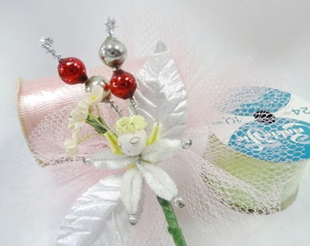 Vintage Spun Cotton Corsage Package Gift Curl Ribbon Spools Pastel Decorations