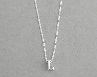 Rhodium Initial L Necklace