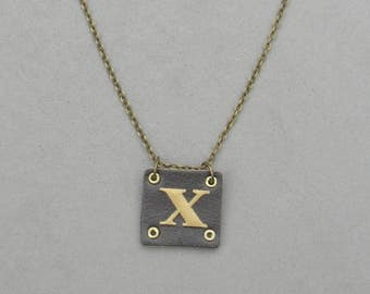 Square Leather X Necklace
