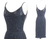 SALE 50s Dress, 1950s Wiggle Dress, 1950s Black Beaded Cocktail Dress, Pin Up Bombshell Dress, VLV Holiday Sparkle