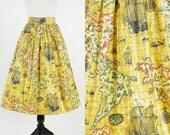 """1950s Novelty Print Skirt, Vintage 50s Skirt, Map Skirt, World Traveler Skirt, Novelty Skirt, America Noviter Delineata 28"""" Waist"""