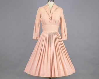 1950s Full Skirt Dress, 50s Dress, Pink Wool Dress, Vintage Day Dress