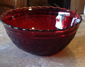 Vintage Anchor Hocking Fire King Ruby Red Sandwich Scalloped Glass Serving Mixing Bowl