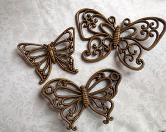 Trio of Brown Plastic Syroco Homco Butterflies, 1970s Vintage Wall Décor
