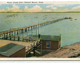 Relay House Pier Nahant Beach Massachusetts 1947 postcard