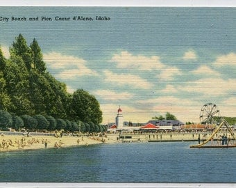 City Beach and Pier Coeur d'Alene Idaho 1950s linen postcard