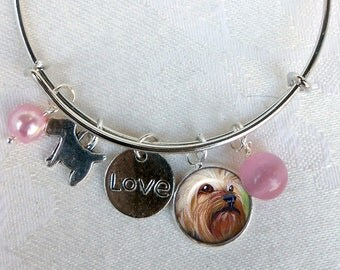 Yorkie Charm Bracelet ~ Girlfriend Gift ~ Wire Bangle ~ Dog Jewelry ~ Yorkie Owner Gift ~ Yorkie Jewelry