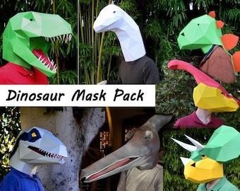 Dinosaur Mask Patterns - Our Full Set! Make Your Own T-Rex, Raptor, and More. 40%+ off! | DIY Halloween Mask Patterns | Dinosaur Costume