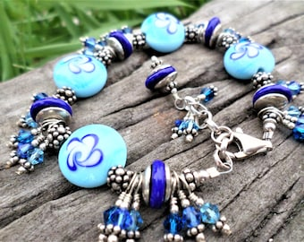 Autism Jewelry Sterling Silver Hand Made Lampwork Beads and Bali Silver Beads