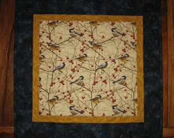 "Chickadee Bird Quilted Table Topper, Bird Table Square, Wall Hanging, 21 x 21"" 100% Cotton Fabrics, Reversible"