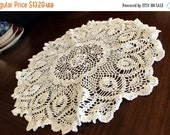 ON SALE Large Openworked Doily, Crochet Centerpiece, White Crocheted Vintage Table Linens 13787