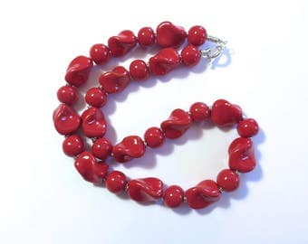 Kazuri Beaded Necklace, Fair Trade, Red Ceramic Necklace