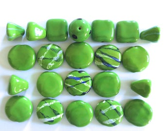 Kazuri Beads, 20 Large Kazuri Beads, Green Ceramic Beads, Kazuri African Beads