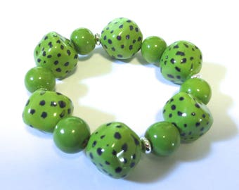 Kazuri Bangle, Green Spotted Ceramic Bracelet
