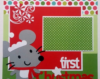 Baby's First Christmas premade scrapbook - Ohioscrapper - 12x12 premade scrapbook layout - Premade scrapbook layout 12x12 - 12x12 premade