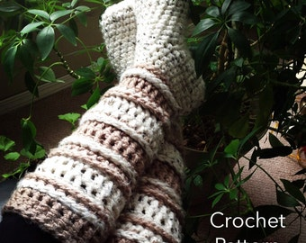 CROCHET PATTERN Slipper Socks / Crochet Slipper Boots / Reading Socks / Knee High Socks  / PDF / Made in Canada