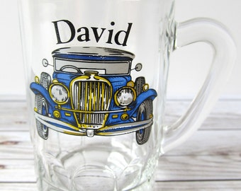 VINTAGE - David with Old Car Shot Glass - Collectible
