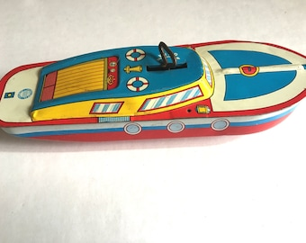Vintage Tin Toy Boat