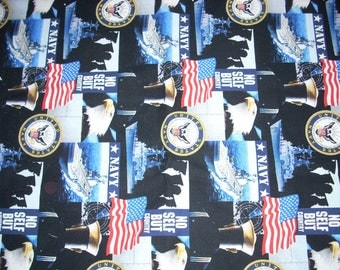 United States Navy  -  Cotton Fabric - 14 inches wide - sold by the yard