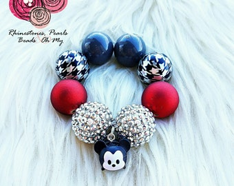 Tsum Tsum Black & White Mickey Mouse  Bracelet, Mickey Bubble Gum Beads, Disney Gift, Photo Prop, Disney Jewelry, Birthday Gift