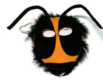 Bee Mask, Bumblebee Mask, Woodland Animal Mask, Animal Birthday Party Favor, Child's Halloween Costume, Adult Mask, Adult Costume