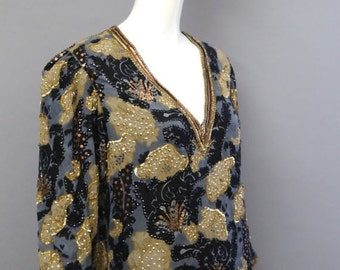 20% OFF 70s JUDITH ANN Creations silk chiffon beaded sequin tunic top Blouse vintage 1970s black & gold