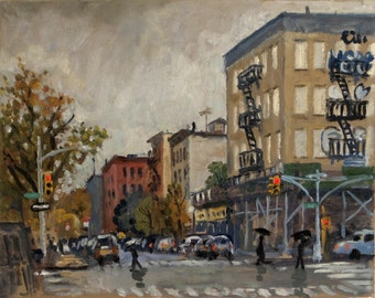 Rainy, East Harlem NYC. 8x10 Oil on Canvas, New York City Realist Oil Painting, Urban Impressionist Fine Art, 3rd Ave and 115th Streett