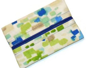 Travel Tissue Holder, Blue and Green Brushstrokes, Pocket Tissue Holder, Tissue Holder, Tissue Case, Gift, Blue and Green Tissue Case