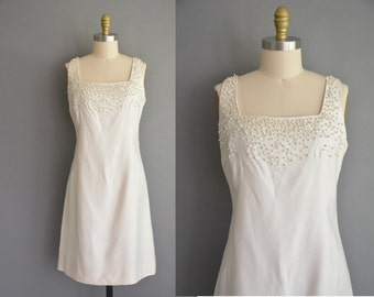 50s dress / 50s white beaded vintage wedding dress / vintage 1950s dress