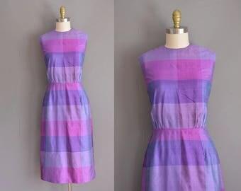 vintage 1950s dress. 50s silk purple bold stripe vintage wiggle dress