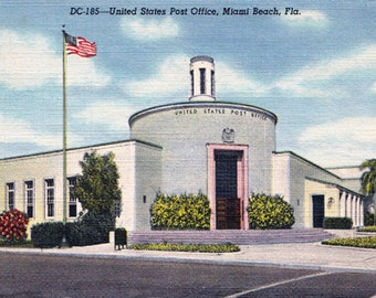 Vintage Post Card Miami Beach Main Post Office Art Deco Architecture