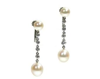 30% Off Winter Sale Pearl Diamond Wedding Dangle Earrings Platinum 0.32ct Brilliant Cut Diamonds