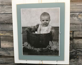 Grey blue and white picture frame holds 8x10/nursery color/distressed/nautical