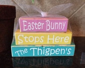 Easter Bunny Wood Mini Stacker - Personalized