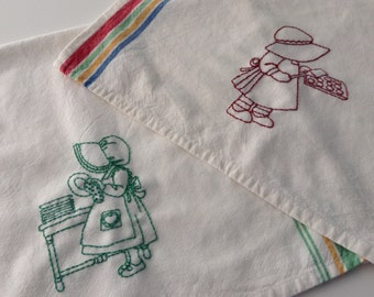 """HAND EMBROIDERED Kitchen TOWELS, 17"""" x 26"""", Green/Yellow Stripe,  Red/ Green/Yellow/Blue Stripe, Kitchen Decor, Handmade, Ready to Ship"""