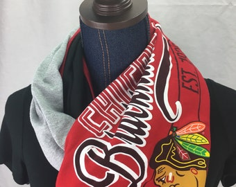 Chicago Blackhawks Recycled T Shirt Infinity Scarf