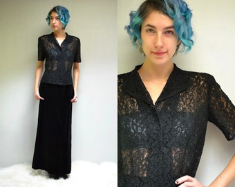 50s Lace Top //  Black Lace Blouse  //  See Through Blouse //  THE HARBINGER