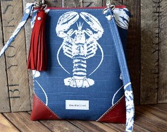 Navy Lobster Crossover Bag, Crossover Bag, Summer Bag, Lobster Bag, Vegan Cross Body, Beach Bag, Navy Beach Bag, Navy Cross Body