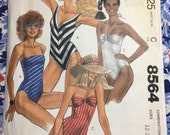 McCall's 8564 UNCUT sewing pattern Misses' one-piece swimsuits Sizes 12-14-16 Copyright 1983