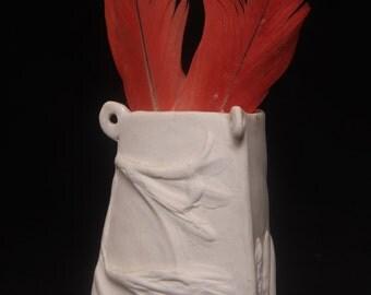 Studio Limoges Porcelain Small Vase Raised Flowers Triangle White Vessel Relief Handmade Ceramic Miniature