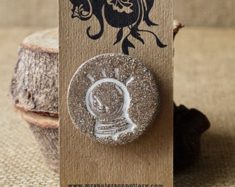 Rustic Fortune Teller's Stoneware Brooch, Handmade by Mrs Peterson Pottery