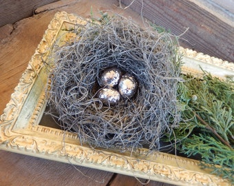 Rustic Bird Nest Christmas Handmade with Hand Rolled Silver Glitter Eggs Holiday Decor PerchAndPatina