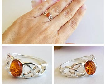 SALE 20% OFF Amber Ring - Sterling Silver Ring - Baltic Amber ring - Amber Jewelry - Celtic Amber ring - Genuine Amber Ring - Real Amber rin
