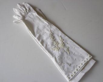 Ladies White Dress Gloves - White Dress Gloves - Vintage Gloves - Antique Gloves - Formal White Gloves - Nylon White Gloves - Gloves
