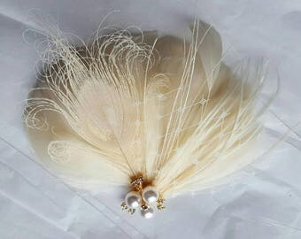 Bridal Fascinator, Wedding Fascinator, French Netting, Bridal Comb, Wedding Hair Comb, Wedding Headpiece, Wedding Comb, Feather Comb
