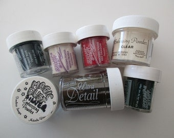 lot of embossing powders - 7 containers