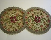 2 vintage tapestry coasters with metallic lace - 9 inches - made in Belgium