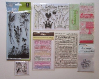 7 pkgs clear acrylic stamps - cling stamps - birthday, sentiments, flowers, crowns, celebrations, and more