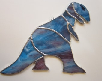 vintage handmade DINOSAUR stained glass - blue dinosaur, stained glass dinosaur